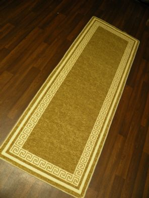 NEW NON SLIP TOP QUALITY RUNNERS 66X185CM APROX 6FTX2FT3 KEY DESIGN BEIGE/CREAM